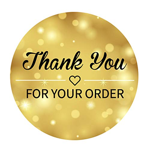 Thank You for Your Order Stickers Roll | 500 Count | 15 Inch | Adhesive Stickers | Shipping Bags Packaging Labels Round Envelopes Boutique Mail Stamp | Small Business Supplies | Gold Star