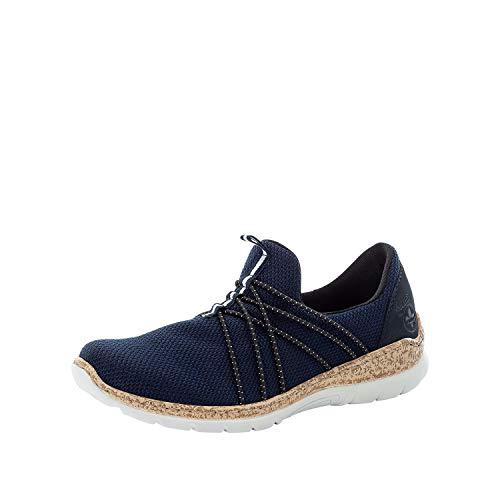 Rieker DAMES Sneakers N42K1, Vrouwen Laag,lage schoen,straatschoenen,vrije tijd,sportief,Blauw (blau / 14),41 EU / 7.5 EU