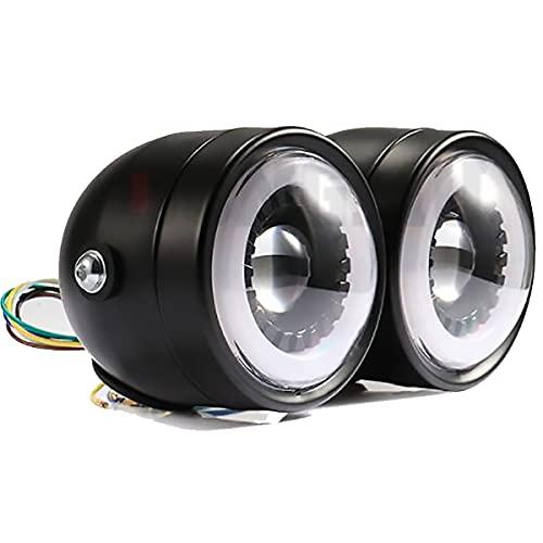JINGH Luces LED para motocicleta, retro-modificadas, luces redondas dobles, CG125, adecuadas para motocicletas como Harley Prince Cruiser-4.25 pulgadas (color: negro)