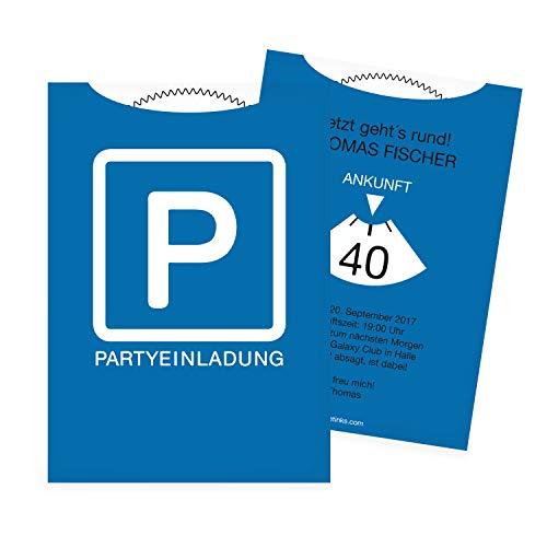 Einladungskarten zum Geburtstag als Parkscheibe | 40 Stück | Inkl. Druck Ihrer persönlichen Texte | Lustige Geburtstagseinladungen | Individuelle Einladungen | Karte Einladung