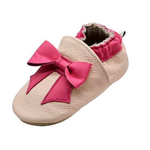 iEvolve Baby Mädchen Jungen Elefant Babyschuhe Baby Weiche Sohle Lederschuhe Baby Lauflernschuhe Krabbelschuhe(Rosa Krawatte),6-12 Monate