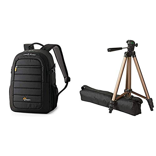 Lowepro Tahoe 150 Backpack for Camera, Black & AmazonBasics 127cm (50') Lightweight Tripod with Bag