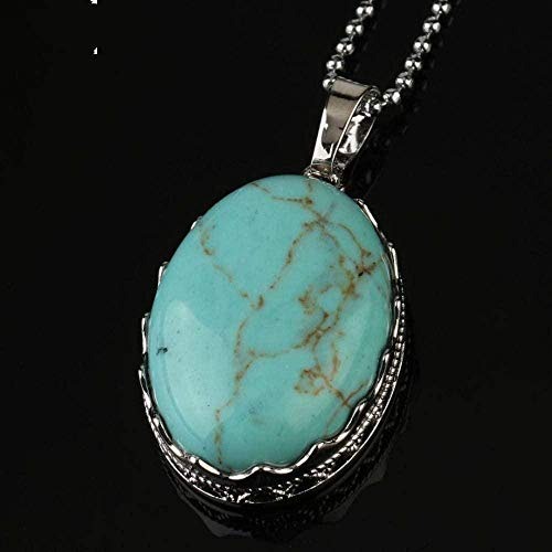 NC188 Stone Pendant Necklaces For Women Natural Oval Cabochon Stone Crown Bezel Wrapped Turquoise Pendant Necklace With Silver Chain Christmas Jewelry Gift For Women Men