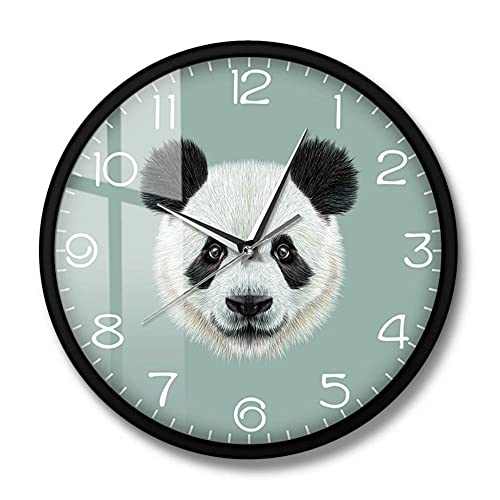 Reloj de Pared con Retrato de Panda Gigante Tesoro Chino Oso Panda de Dibujos Animados Reloj Colgante Reloj de Pared silencioso Lindo Animal decoración del hogar Marco de Metal