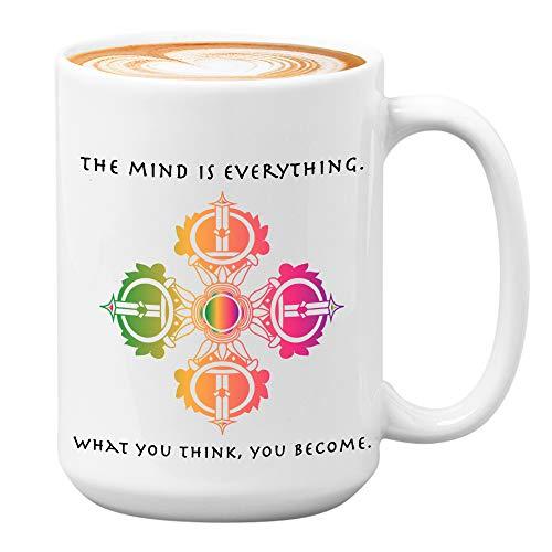 Buddha Coffee Mug - Mind Is Everything What You Think You Become - Spiritual Quotes Reminder Buddhist Yoga Meditation Meditating Meditate 15 Oz