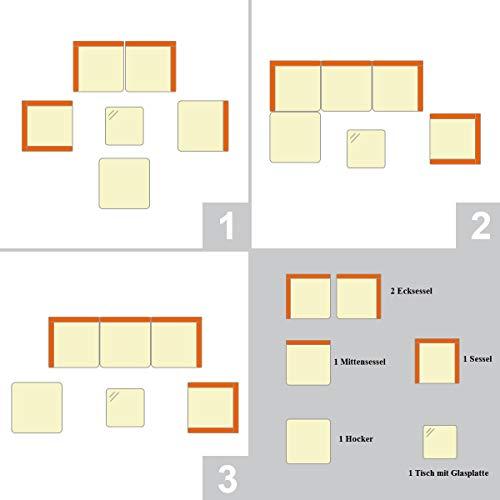 COSTWAY Rattanmöbel, Gartenmöbel Poly Rattan, Lounge Set Gartenlounge Gartengarnitur Gartenset Sitzgruppe Sitzgarnitur inkl. 2 Sets Kissenbezüge(beige/schwarz) - 8
