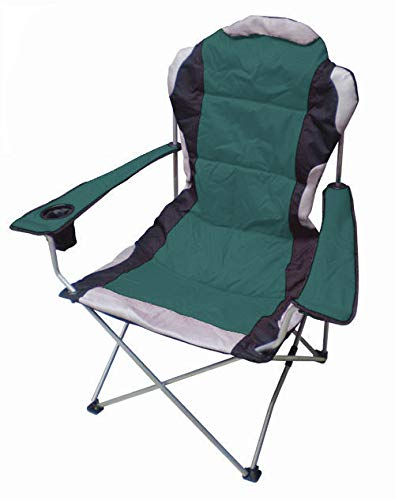 Spetebo Regiestuhl Deluxe bis 150 Kg belastbar - Farbe: grün - Campingstuhl extra breit, extra bequem, extra stabil - Angelstuhl Campingstuhl