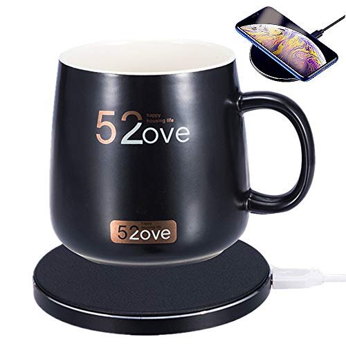 BeEcone Store 2 in 1 Wireless Heating Mug Warmer & Charger,Support All Devices Enables Qi Standard Intelligent Constant Temperature (about 122℉/50℃) for Home & Office (Black)