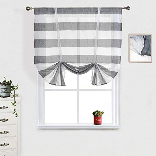 """Striped Tie Up Curtain Valance Sheer Grey and White, Rugby Stripe Window Curtain Drapes Tie Up Shades Balloon Valances Small Rod Pocket Curtains for Kitchen Nursery Living Room Windows (31.5""""W x47""""L)"""