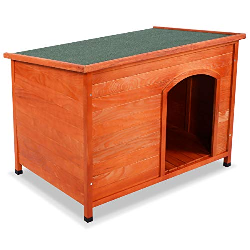 TANGKULA Dog House Pets Products Pet Extreme Log Cabin Weather Resistant Home Outdoor (XL)