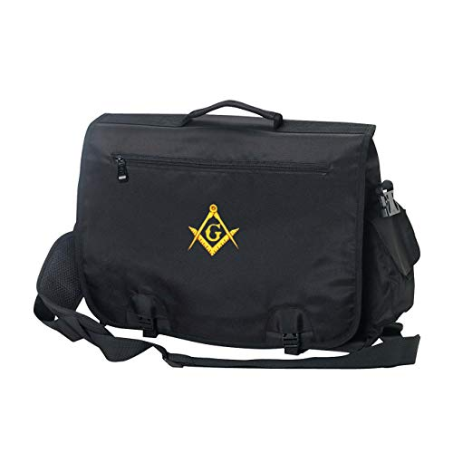 Embroidered Square & Compass Masonic Briefcase/Computer Bag/Apron Case - [Black]