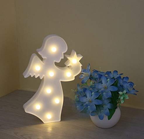 Gwill Señal LED en forma de ángel 3D, funciona con pilas, luz nocturna de mesa para decoración de pared de mesa