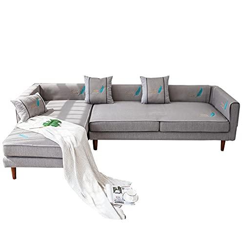 YUTJK Couvercle de canapé de Tapis d'été brodé,Couverture Canapé d'angle Antidérapant,Couvre Canapé Péninsule Amovible,Protecteur Canapé pour Enfant Chien Chat,Gris 1_90×160cm