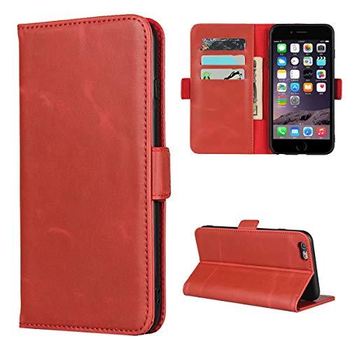 Copmob Funda iPhone 6 Plus/iPhone 6S Plus,Premium Flip Cuero Genuino Billetera Carcasa,[3 Ranuras][Función de Soporte][TPU],Hebilla magnética Funda de Cuero para iPhone 6 Plus/6S Plus - Rojo