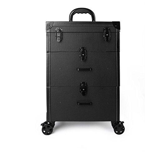 Ali@ Trois étages Tiroir Type Trolley Cosmétique Cas PU Beauté Tatouage Outil Trolley Case Manucure Kit (Couleur : Black lychee pattern)