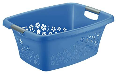 Rotho Flowers Wäschekorb 25 l, Kunststoff (PP), blau