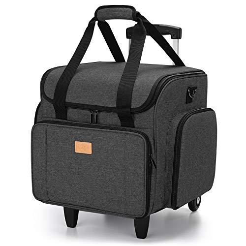 Luxja Bolsa para Máquinas de Coser con Trolley desmontable, Maletas de Transporte para Máquinas de Coser y Accesorios (Solo Bolsa), Negro