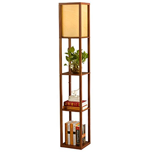 QIANGUANG® Innenbeleuchtung 1,6m Holz Stehleuchte mit Regalen für Schlafzimmer und Wohnzimmer (keine Glühbirne) (Brown)