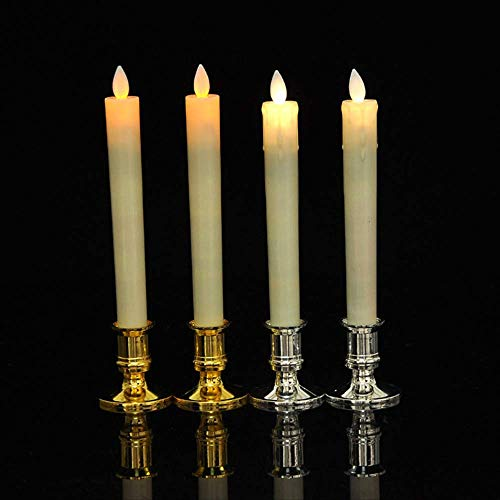 Candele a LED Pacchetto di 2 Amber Restaurant Cena Tavolo Candela Luce Senza Lancia Elettronica Tappered Candela Con Fiamma Danzante, Candele di nozze