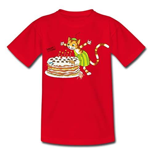 Spreadshirt Pettersson Und Findus Geburtstag Feiern Torte Kinder T-Shirt, 98-104, Rot