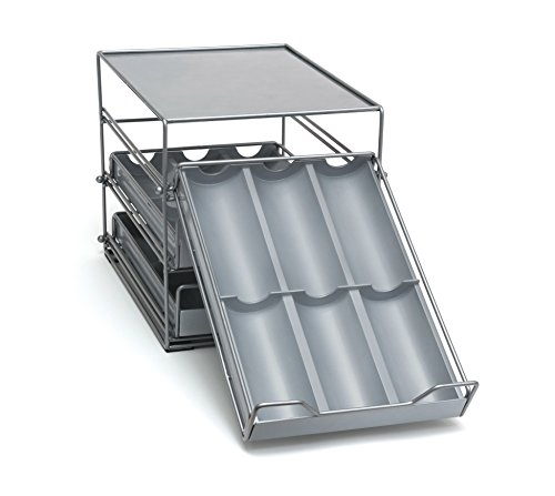 Lipper International 8720 ThreeTier Tilt Down Kitchen and Cooking Spice Drawer Silver/Gray