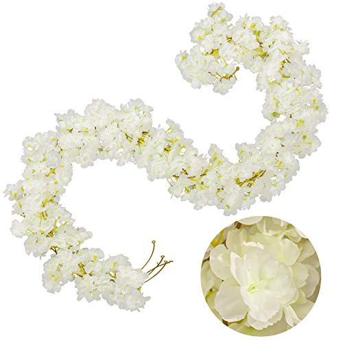 Whaline 4 Pack Artificial Cherry Blossom Garland White Silk Floral Vine 5.9ft Faux Cherry Blossom Flower String Fake Flower Hanging Garland for Home Wedding Indoor Outdoor Fireplace Wall Decoration