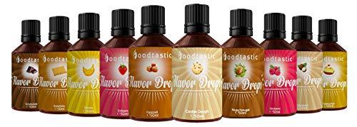 Foodtastic Flavor Drops Range Bundle mit 10 Sorten   Flavdrops Aroma Tropfen   Quark, Wasser oder Porridge kalorienfrei Süßen   vegan, glutenfrei und ohne Zucker