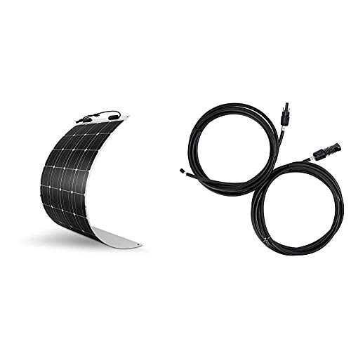 Renogy 100 Watt 12 Volt Extremely Flexible Monocrystalline Solar Panel & One Pair of 10ft. 10AWG Adaptor Kit Solar Cable PV with Female and Male Connectors, Connect Solar Panel and Charge Controller