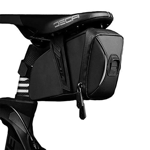 Cool Change Bike Saddle Bag Under Seat, Waterproof Bicycle Seat Bag Bike Seat Pack Bag with Adjustable Straps for Folding Bike Road Bike and MTB