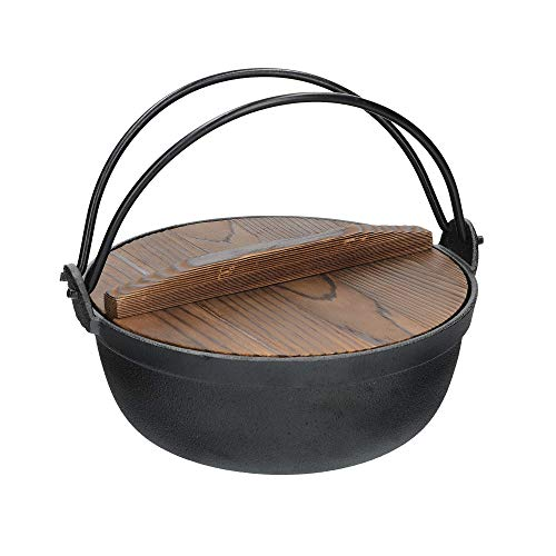 KitchenCraft World of Flavours Japanese Cooking Pot with Wooden Lid, Cast Iron, Black, 1.5 L
