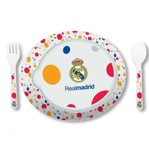 Real Madrid - Pack de 3 piezas vajilla microondas, 22 x 19 cm (Seva 9201060)