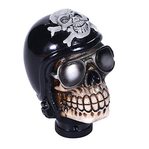 Bashineng Pirate Stick Shifter Knob Skull Shape Replacement Gear Shift Head Fit Most Manual Cars (Black)