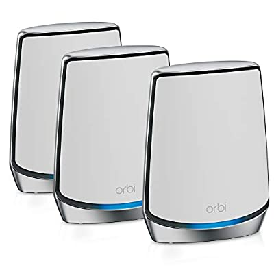 NETGEAR Orbi Whole Home Tri-Band Mesh WiFi 6 System (RBK853) – Router with 2 Satellite Extenders | Coverage up to 7,500 sq. ft. and 60+ Devices | 11AX Mesh AX6000 WiFi (Up to 6Gbps)