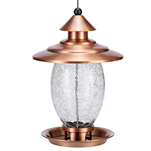 Birdream Wild Bird Feeder Outdoor Hanging Bird Feeders for Outside Metal Crackle Glass 3lb Seed Capacity Decoration with Waterproof Roof for Garden Yard