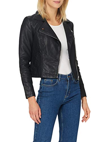 JdY Damen JDYSIMBA Faux Leather Jacket OTW NOOS Jacke, Black, 34