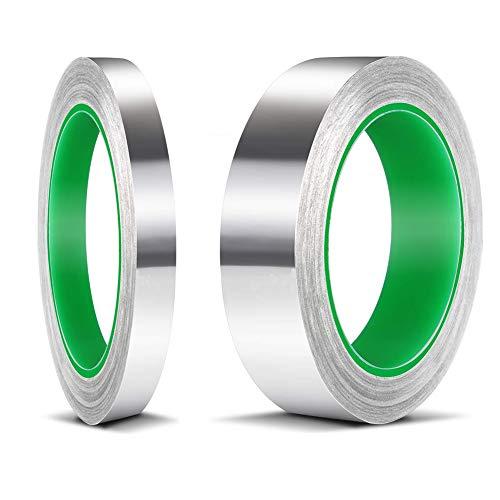JAHEMU アルミテープ 導電性アルミ箔テープ アルミ箔粘着テープ 両面 導電性 静電気除去 放射線防護 耐熱 防水 保温 保冷 多機能 金属テープ 強粘着タイプ 10mmx20mx0.1mm、20mmx20mx0.1mm (2巻入)