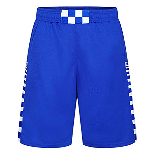 Minimal Su Men's Shorts with Pockets for Basketball Running Jogger Gym Workout Sports Fitness Blue 4XL