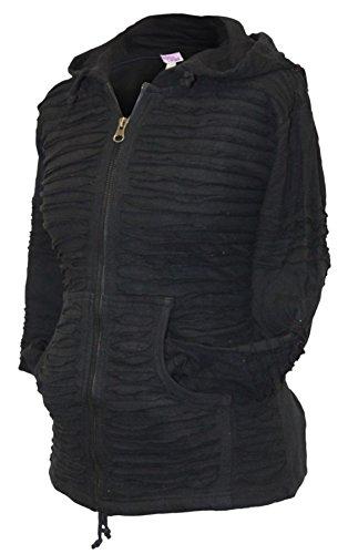 Women Slashed Razor Cut Hoodie [XL,Black]