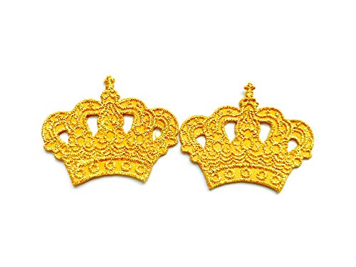 TH Set of 2 Tiny. Mini Princess Gold Crown Cute Cartoon Logo Applique Embroidered Sew on Iron on Patch for Backpacks Jeans Jackets Clothing