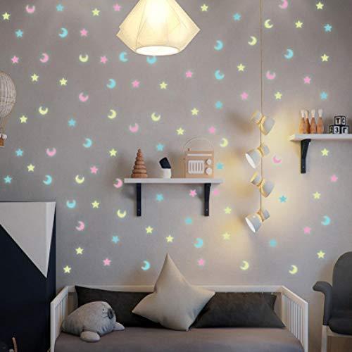 N\A vinilos de Pared Decorativos 100 Estrellas Luminosas de Colores Mezclados y Luna Pegatinas de Pared 3D para niños Sala de Estar Pegatinas Luminosas para decoración del hogar