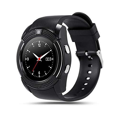 Libertroy Smart Watch Hombres con cámara Smartwatch Podómetro Monitor de Ritmo cardíaco Tarjeta SIM Reloj de Pulsera - Negro