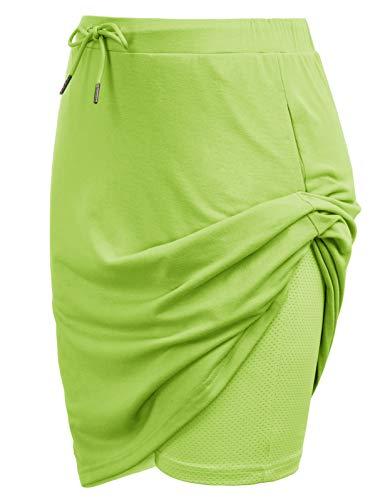 JACK SMITH Women's Athletic Skort Drawstring Waist Stretchy Knitting Skirts with Pockets(S,Apple Green)