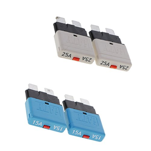 Baoblaze 4X Disjoncteur Automatique De Fusible Assortiment Voiture Moto SUV Fusible 15A 25A 28V