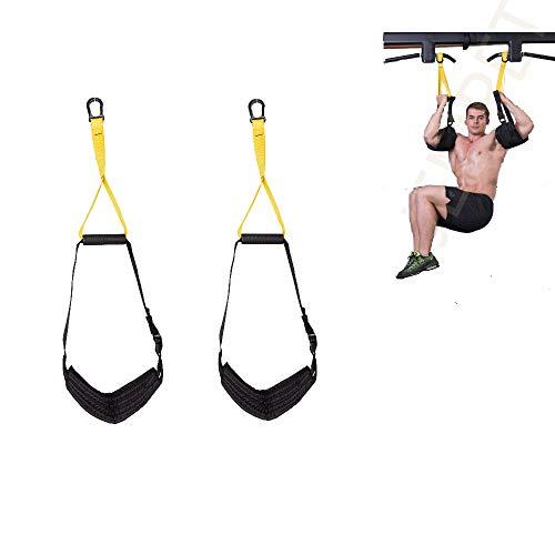 JEMPET Verstellbare Bauchtrainingsschlaufen Ab Slings Riemen mit Griff, Sling Workout Paar für Pull Up Bar hängenbein Knie Heben Fitness Bauchtrainer