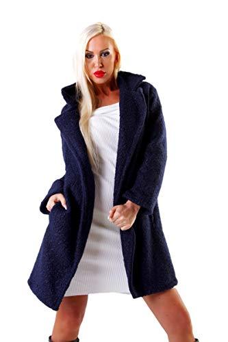 OSAB-Fashion 10510 Damen Mantel Bouclé-Mantel Kurzmantel Wintermantel Reverse Verschlußlos