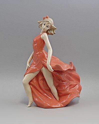 Porzellan-Figur Tänzerin im roten Kleid