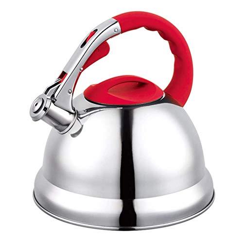 FZYE Estufa eléctrica de Gas de inducción de Acero Inoxidable de 3,5 litros, hervidor de Agua con silbido Superior, Rojo