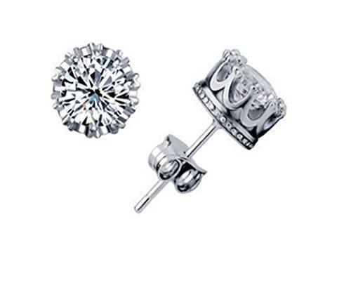 Wiftly Pour Femme Fille Boucles d'oreilles Couronne Impériale Avec Diamant Argent