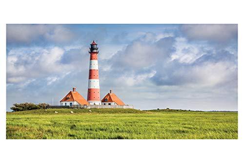 LimeWorks Badetuch, 70x140 cm, Westerhever Leuchtturm Nordfriesland, 100% Baumwolle, Made in Holland