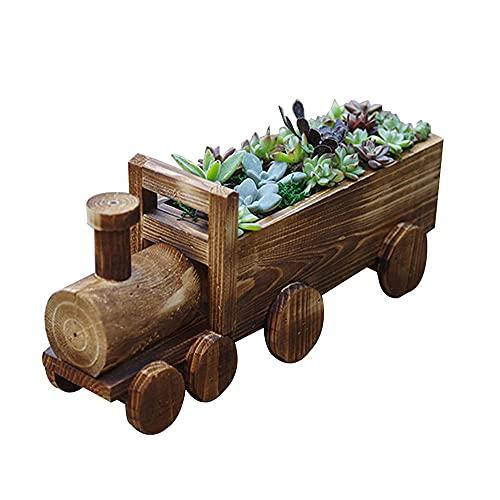 YAZGG Hölzerner Pflanzenbehälter, Multifunktionaler Hölzerner Zug/Wagen/Schubkarre Sukkulenter Blumentopf Indoor Outdoor Hausgarten Pflanzenpflanzer (kein Rollen)